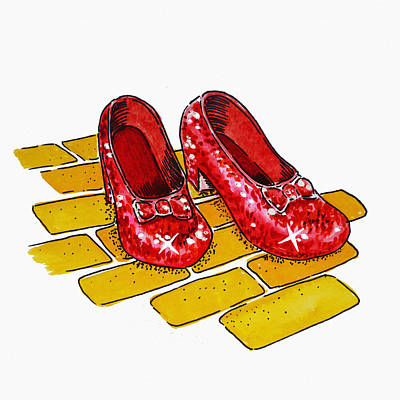 Famous Watercolor Painting - Ruby Slippers The Wizard Of Oz  by Irina Sztukowski