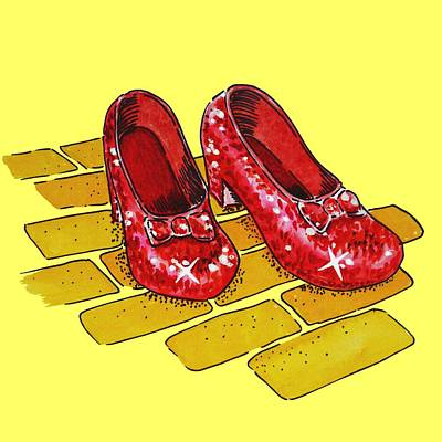 Fantasy Royalty-Free and Rights-Managed Images - Ruby Slippers Wizard Of Oz by Irina Sztukowski