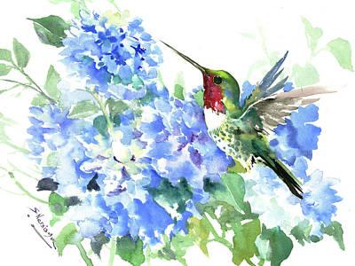 Hydrangea Watercolor Painting - Ruby Throated Hummingbird And Hydrangea Flowers by Suren Nersisyan
