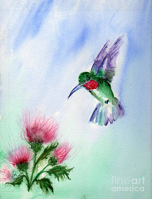 Ruby Throated Hummingbird Art Print by Doris Blessington
