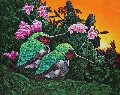 Painting - Ruby-throated Hummingbirds by Michael Frank