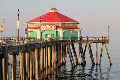 Photograph - Ruby's On Huntington Beach Pier by Art Block Collections