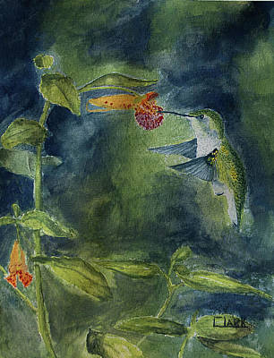 Painting - Rubythroated Hummingbird by Wade Clark