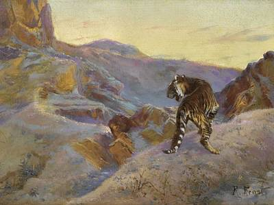 The Tiger Painting - Rudolf Ernst 18541932 Austrian Tiger In The Mountains by Celestial Images