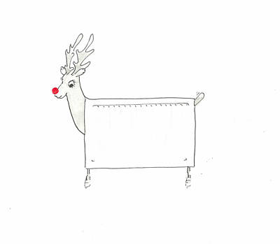 Red Line Drawing - Rudolf The Red Nosed Radiator by Lincoln Seligman