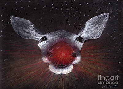 Drawing - Rudolph Red-nosed Reindeer by John Small