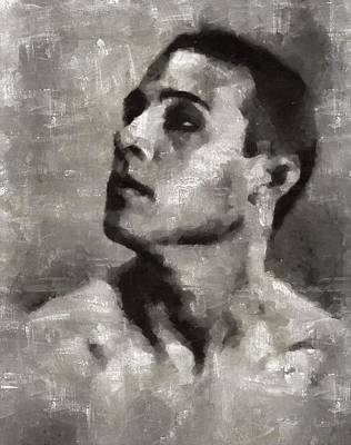 Valentino Painting - Rudolph Valentino, Vintage Actor by Mary Bassett