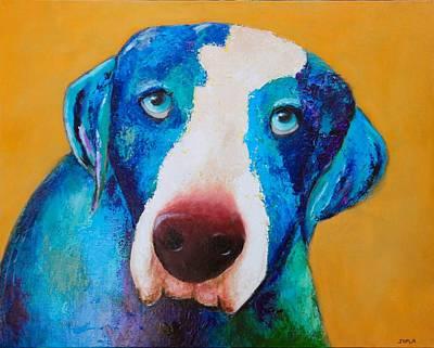 Gold Labrador Painting - Rudy by Debbie Joplin