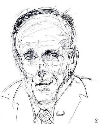 Caricature Drawing - Rudy Giuliani by Cameron Hampton PSA