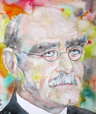 Painting - Rudyard Kipling - Watercolor Portrait by Fabrizio Cassetta