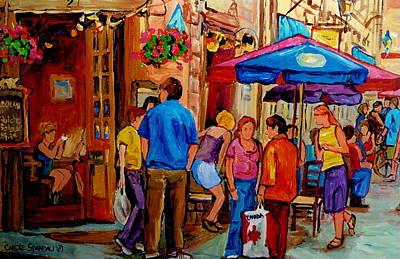 Rue Prince Arthur Painting - Rue De La Commune Montreal by Carole Spandau