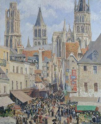 Rue De L'epicerie, Rouen Art Print by Camille Pissarro