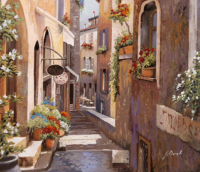 Light And Shadow Painting - Rue Du Bresc In St Paul De Vence by Guido Borelli