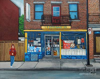 Montreal Streets Painting - Rue Du Centre Depanneur by Reb Frost