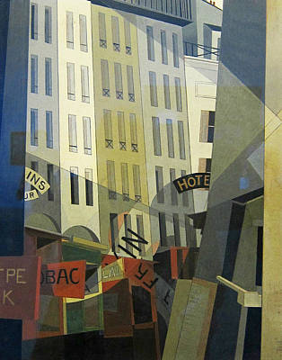 Fine American Art Painting - Rue Du Singe Qui Peche  by Charles Demuth