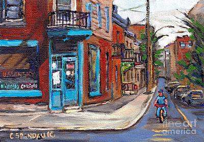 Montreal Cityscenes Painting - Rue Fairmount And Clark Wilensky Corner Deli Quebec Paintings Best Authentic Original Montreal Art by Carole Spandau