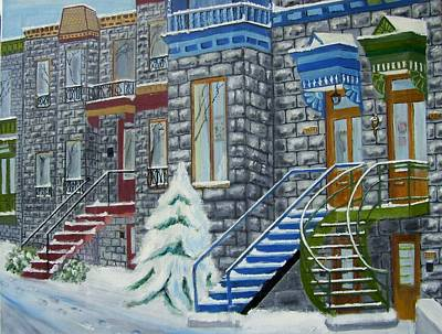 Row Houses.winter Scene Painting - rue LAVAL St. by Arthur Antille