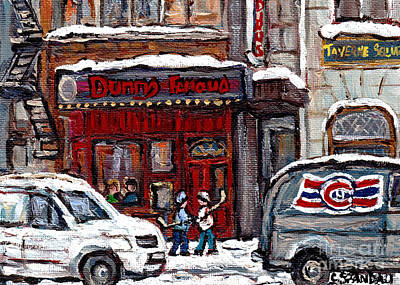 Hockey Art Painting - Rue Metcalfe Montreal Winter Street Scene Paintings Dunn's Famous Deli Hockey Scenes Canadian Art    by Carole Spandau