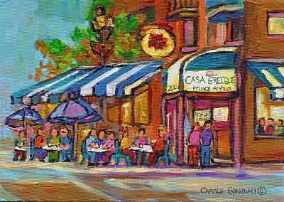 Rue Prince Arthur Casa Grecque Montreal Art Print by Carole Spandau