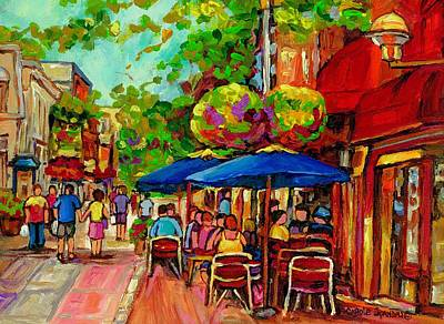 Dinner For Two Painting - Rue Prince Arthur Montreal by Carole Spandau