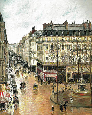 Of Rain Painting - Rue Saint Honore by Camille Pissarro