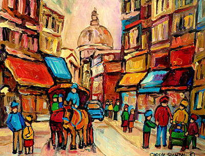 Montreal Winterscenes Painting - Rue St Jacques Old Montreal Streets  by Carole Spandau