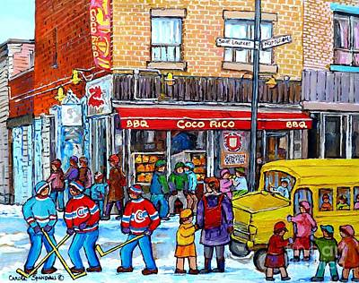 Montreal Memories. Painting - Rue St Laurent Corner Napoleon Coco Rico Bbq Montreal Winter Scene After School Hockey C Spandau by Carole Spandau
