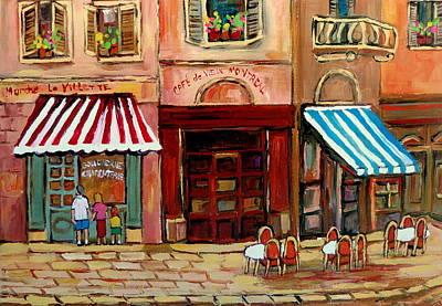 Montreal Restaurants Painting - Rue St Paul Montreal by Carole Spandau