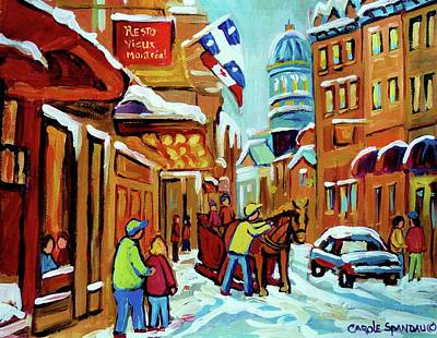 Streetscenes Painting - Rue St Paul Montreal Streetscene Cafes And Caleche by Carole Spandau