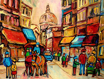 Montreal Neighborhoods Painting - Rue St. Paul Old Montreal Streetscene by Carole Spandau