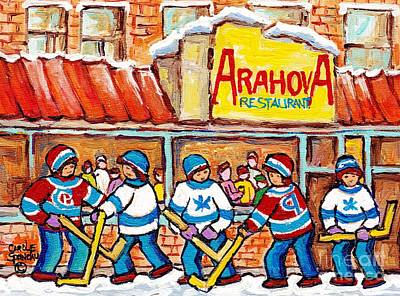 Painting - Rue St Viateur Winterscene Painting For Sale Montreal Art Street Hockey Game Arahova Resto C Spandau by Carole Spandau
