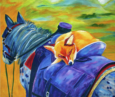Dogs Painting - Ruff Rider by Andrea Folts