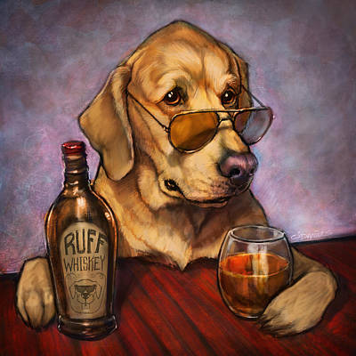 Food And Beverage Painting - Ruff Whiskey by Sean ODaniels