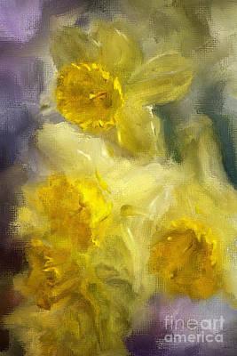 Daffodils Digital Art - Ruffles by Lois Bryan