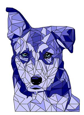 Husky Digital Art - Rufus In Blue by David Smith
