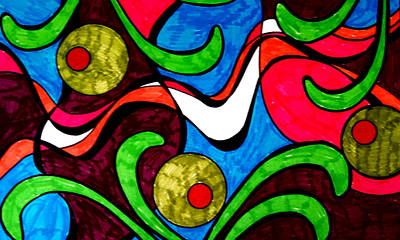 Abstract Shapes Drawing - Rug Design 4 by Anne Robinson