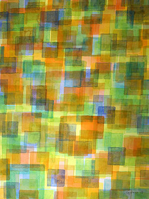 Rug Out Of Orange, Blue And Green Squares Art Print by Heidi Capitaine