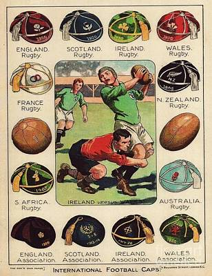 Painting - Rugby - Football Caps by Roberto Prusso