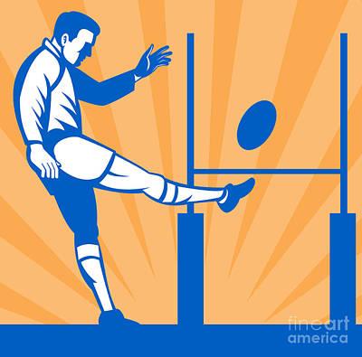 Rugby Goal Kick Art Print by Aloysius Patrimonio