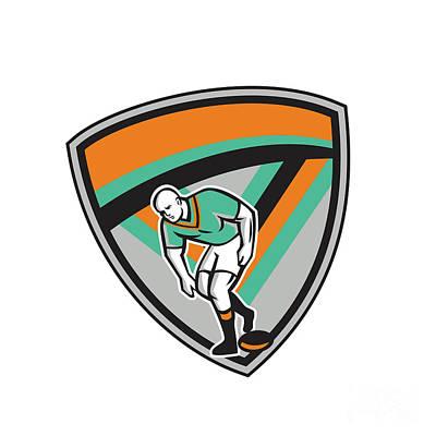 Rugby League Player Playing Ball Shield Retro Art Print by Aloysius Patrimonio