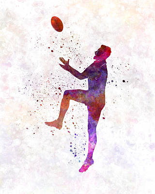 Rugby Painting - Rugby Man Player 01 In Watercolor by Pablo Romero