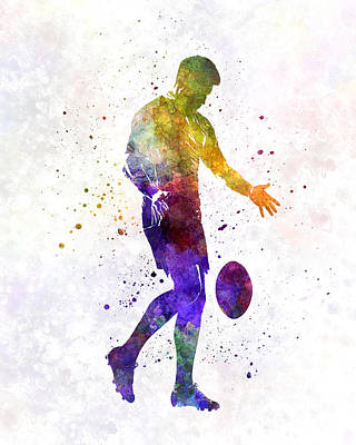 Rugby Painting - Rugby Man Player 02 In Watercolor by Pablo Romero