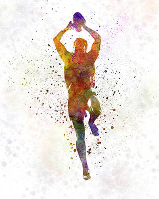 Rugby Man Player 04 In Watercolor Art Print by Pablo Romero