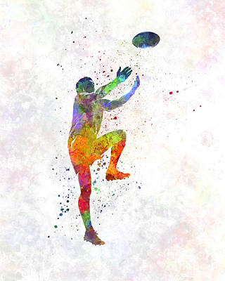 Rugby Painting - Rugby Man Player 05 In Watercolor by Pablo Romero