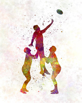 Rugby Men Players 01 In Watercolor Art Print by Pablo Romero