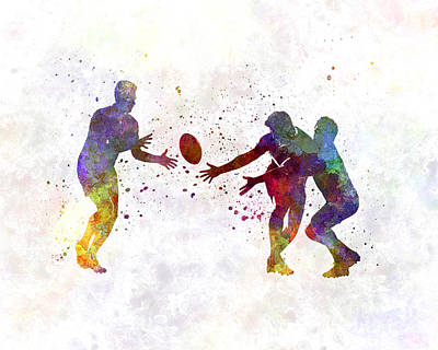 Rugby Painting - Rugby Men Players 02 In Watercolor by Pablo Romero
