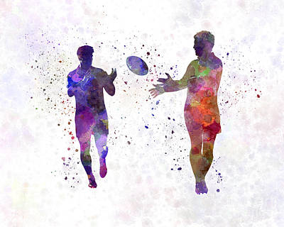 Rugby Painting - Rugby Men Players 04 In Watercolor by Pablo Romero