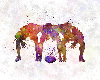 Rugby Painting - Rugby Men Players 05 In Watercolor by Pablo Romero