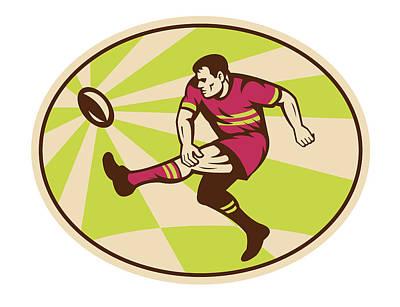 Rugby Player Kicking The Ball Retro Print by Aloysius Patrimonio