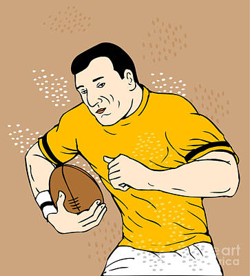 Rugby Player Runningwith The Ball Print by Aloysius Patrimonio